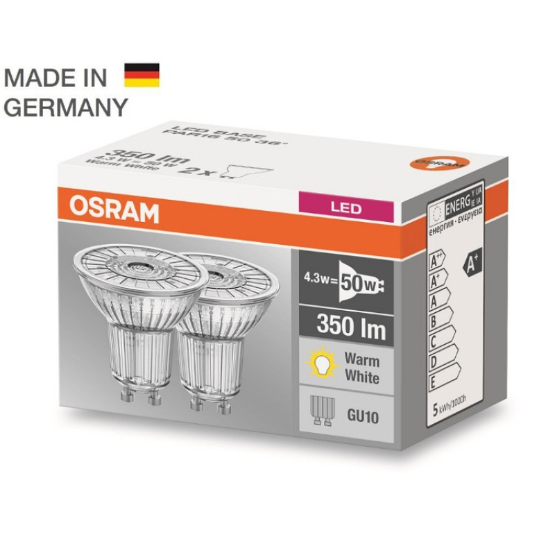 2x osram gu10 led lighting lamp bulb led star par16 4 3w 50w 350. Black Bedroom Furniture Sets. Home Design Ideas
