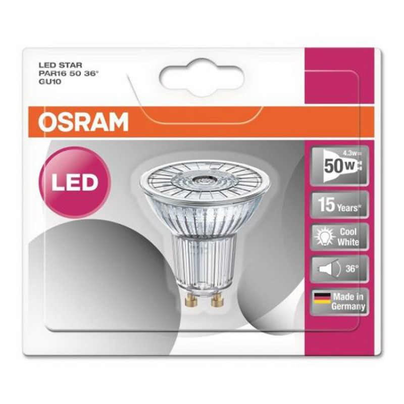 osram gu10 led lighting lamp bulb led star par16 50 36 4 3w. Black Bedroom Furniture Sets. Home Design Ideas