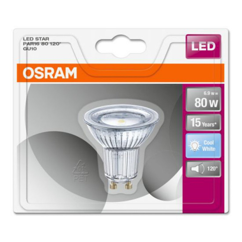 osram gu10 led lighting lamp bulb led star par16 80 120 6 9w. Black Bedroom Furniture Sets. Home Design Ideas