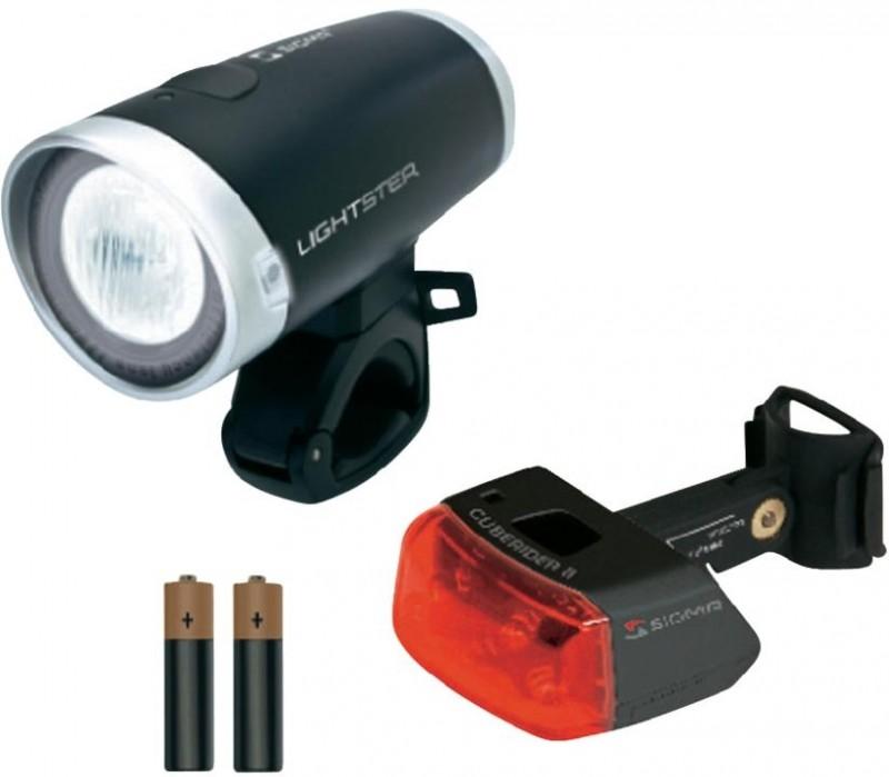 sigma fahrradlampen set lightster und cuberider ii fahrrad beleuchtun. Black Bedroom Furniture Sets. Home Design Ideas