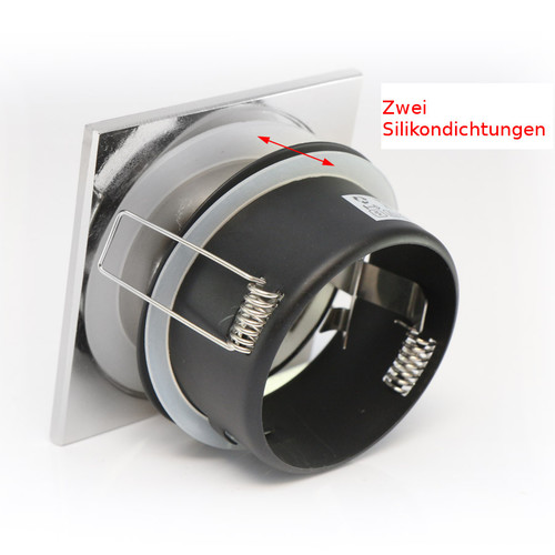 Einbaurahmen, Downlight, Wasserdicht IP65, eckig, aus Aluminium in Satin für GU10 MR16 GU5,3 LED Spot, LED Highpower Spot, normale Halogen, 245398