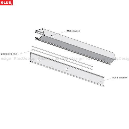 Aluminum profile IMET KPL. 18012ANODA, space for power supplies, anodized, easy installation, lighting down, 2 meter